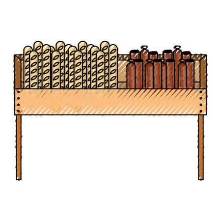 one level supermarket shelf with breads and sausages in colored crayon silhouette vector illustration
