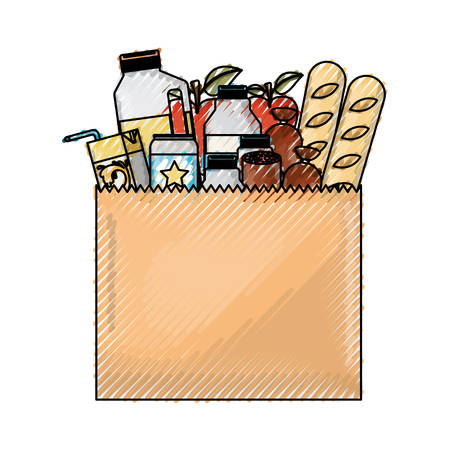 paper bag with market of food and drinks in colored crayon silhouette vector illustration