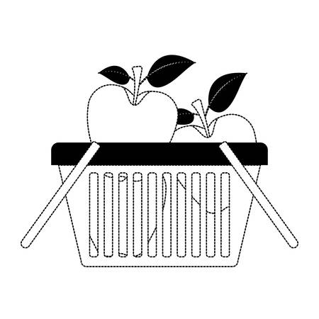basket shopping with apples fruits in black dotted silhouette vector illustration Illustration