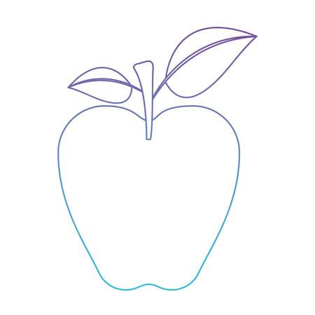 Fruta De Manzana Con Tallo Y Hojas En Degradado De Color Púrpura A ...