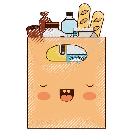 square paper bag with handle and foods sausage bread and drinks juice and water bottle and milk carton in colored crayon silhouette vector illustration
