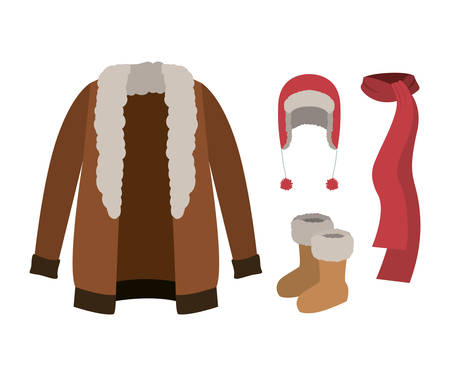 Winter clothes with fur coat and scarf and wool cap and boots over white background vector illustration Illustration