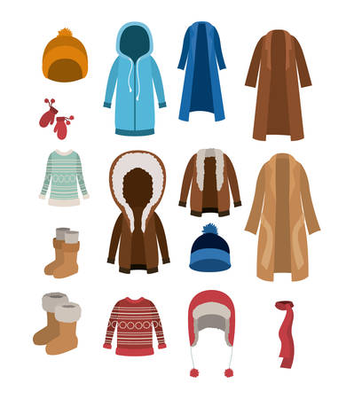 Winter clothes set with coats sweaters wool cap boots scarf jackets and gloves over white background vector illustration Illustration