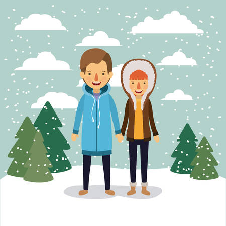 winter people background with couple in colorful landscape with pine trees and snow falling and him with coat and her with hooded coat vector illustration Illustration
