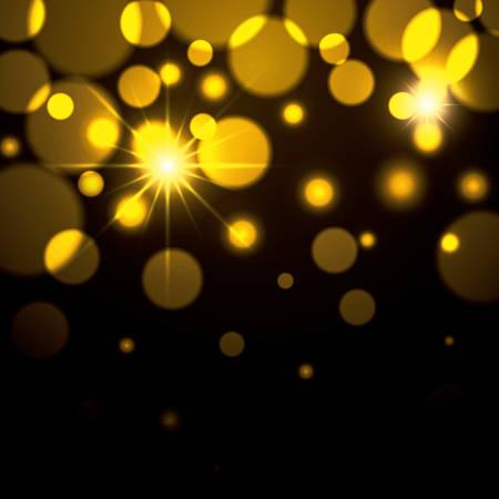 fireworks sparks in yellow color on black background vector illustration