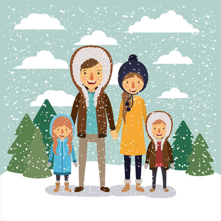 winter people background with family in colorful landscape with pine trees and snow falling and father and son and daughter with hooded coat and mother with sweater and cap of wool vector illustration Illustration