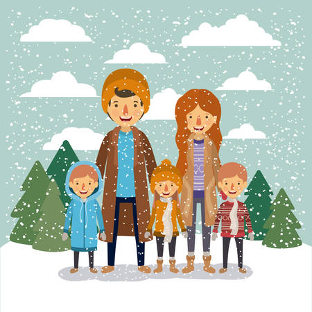 winter people background with family in colorful landscape with pine trees and snow falling and father mother and sons with coats and scarfs vector illustration