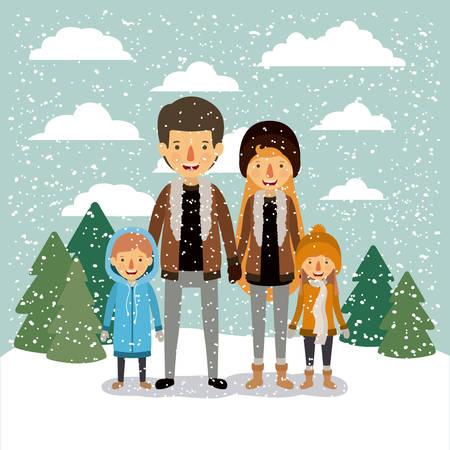 Family in colorful landscape with pine trees and snow falling. Illustration