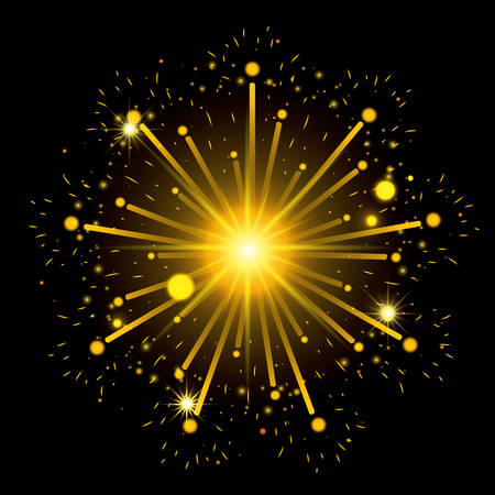 fireworks bursting in shape of star with yellow flashes on black background vector illustration Illustration