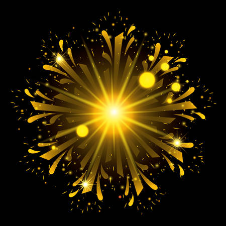 fireworks bursting in shape of flower with yellow flashes on black background vector illustration Illustration