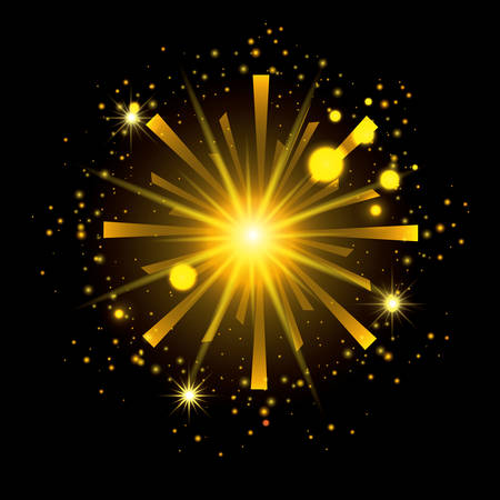 fireworks bursting in shape of radiant sun with yellow flashes on black background vector illustration