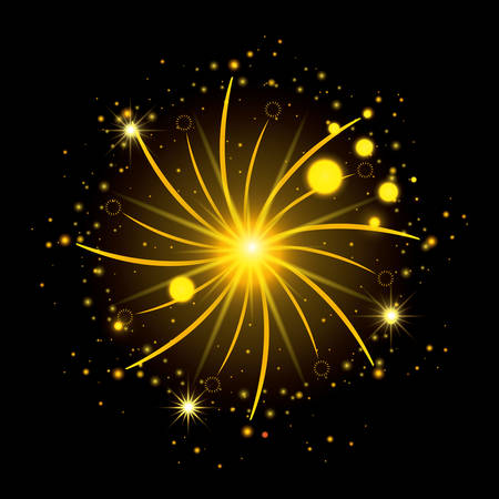 fireworks bursting in glowing yellow flashes on black background vector illustration Illustration