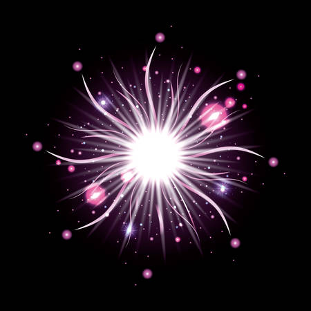 fireworks bursting in glowing white and purple flashes on black background vector illustration Illustration