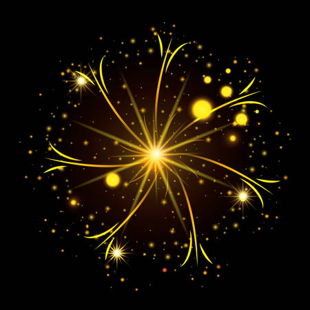 fireworks bursting in glowing yellow thin star on black background vector illustration