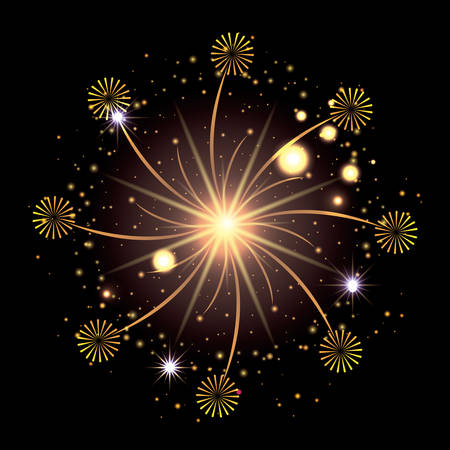 fireworks bursting in glowing yellow and starry flashes around on black background vector illustration