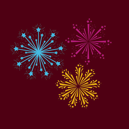 fireworks bursting in glowing multi colours on dark red background vector illustration Illustration