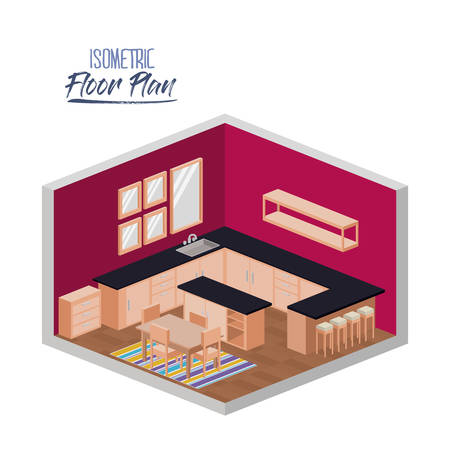 isometric floor plan of kitchen with big worktop and dining room with carpet in colorful silhouette vector illustration Ilustração