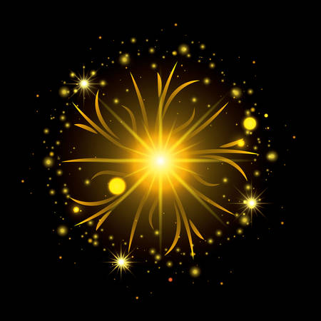 fireworks bursting in shape of sun with yellow flashes on black background vector illustration Illustration