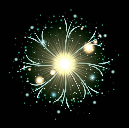 fireworks bursting in glowing white and light green flashes on black background vector illustration