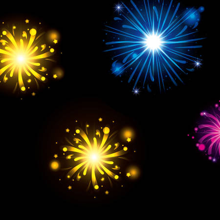 fireworks bursting in glowing colours yellow blue magenta on black background vector illustration