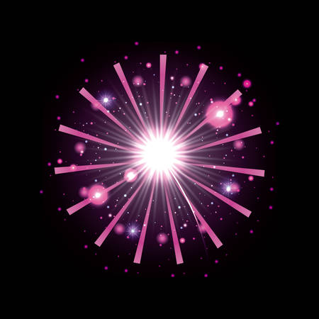 fireworks bursting in glowing white and magenta flashes on black background vector illustration