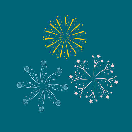 fireworks bursting in glowing multi colours on blue background vector illustration