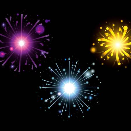fireworks bursting in glowing colours magenta light blue yellow on black background vector illustration Illustration