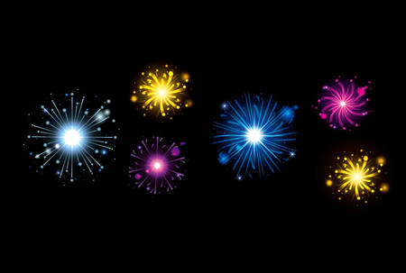 fireworks bursting in glowing multi colours on black background vector illustration Illustration