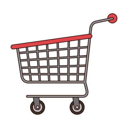 shopping cart icon in colorful silhouette with thin black contour vector illustration