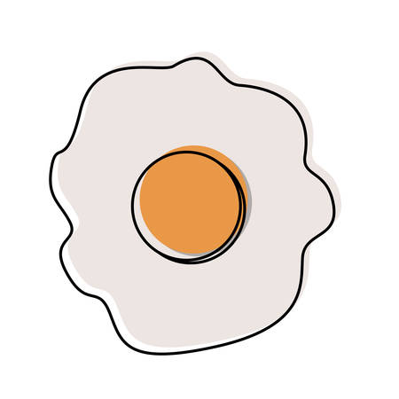 fried egg in watercolor silhouette on white background vector illustration Illustration
