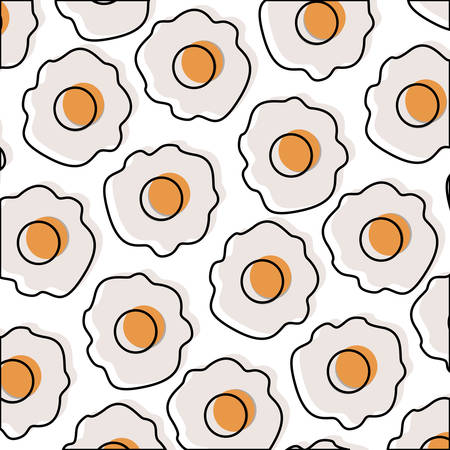 Fried eggs pattern in watercolor silhouette on white background.