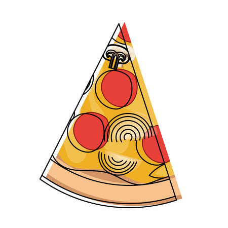 Pizza slice in watercolor silhouette on white background vector illustration Illustration