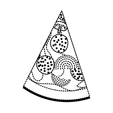 pizza slice in black dotted silhouette on white background vector illustration Illustration