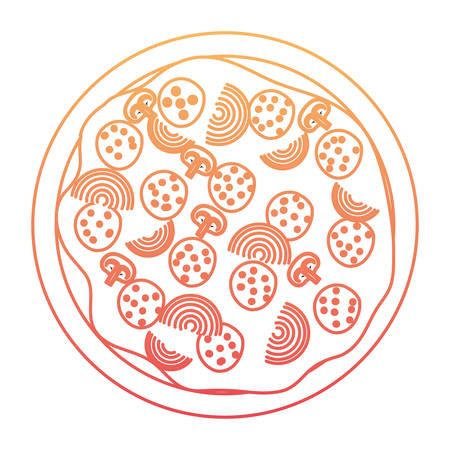 pizza icon in degraded orange to magenta color contour vector illustration Illustration
