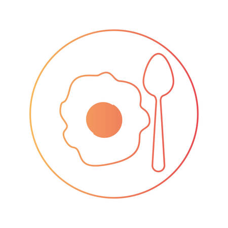 fried egg with spoon on dish in degraded orange to magenta color contour vector illustration
