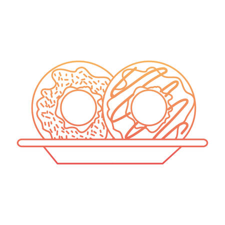 donuts on dish in degraded orange to magenta color contour vector illustration Illustration