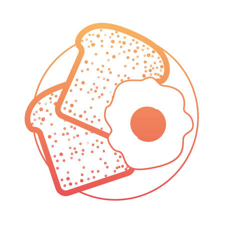 Bread slices and fried egg on dish in degraded orange to magenta color contour vector illustration