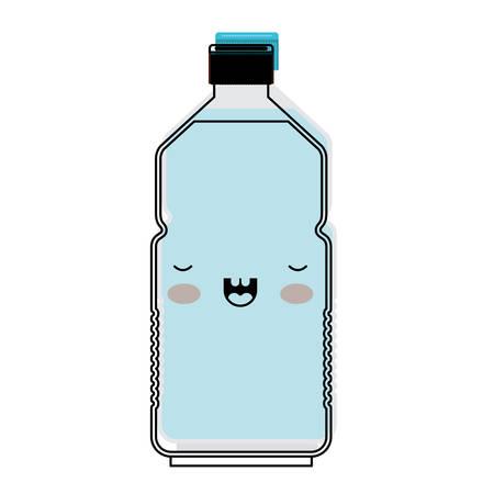 Cartoon water bottle in watercolor silhouette vector illustration