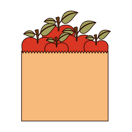 paper bag with apple fruits in colorful silhouette with thin black contour vector illustration