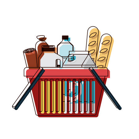 shopping basket with foods sausage bread and drinks juice and water bottle and milk carton in watercolor silhouette vector illustration