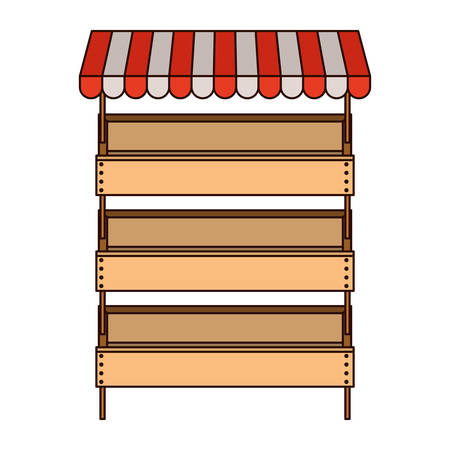supermarket shelves with big storage with three levels and sunshade in colorful silhouette with thin black contour vector illustration