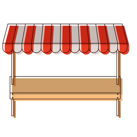 supermarket shelf of one level and sunshade in watercolor silhouette vector illustration Vettoriali