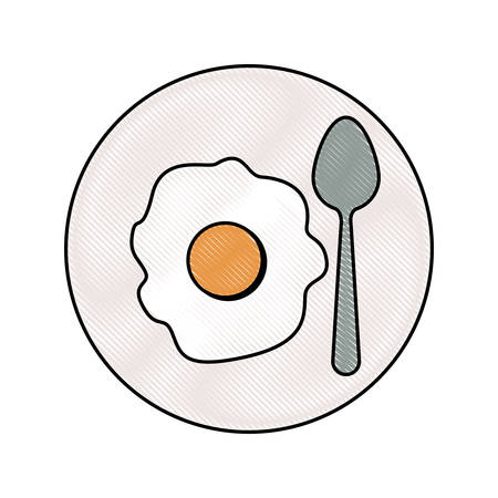 fried egg with spoon on dish in colored crayon silhouette on white background vector illustration
