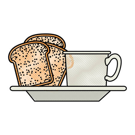 coffee cup and bread slices on dish in colored crayon silhouette on white background vector illustration