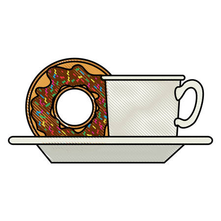 coffee cup and donut with chocolate glaze on dish in colored crayon silhouette on white background vector illustration