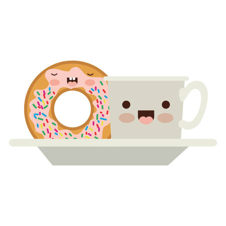 coffee cup and donut with cream glaze on dish in colorful silhouette on white background vector illustration Illustration