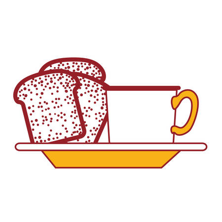 coffee cup and bread slices on dish in color sections silhouette vector illustration Illustration