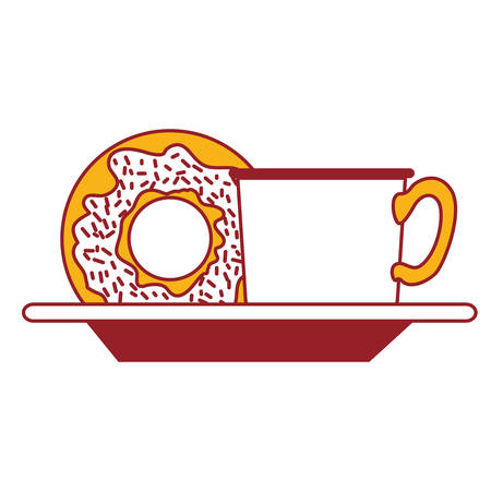 coffee cup and donut on dish in color sections silhouette vector illustration Illustration