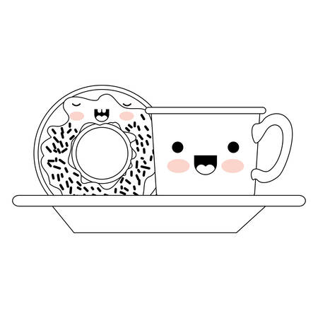 coffee cup and donut with cream glaze on dish in monochrome silhouette on white background vector illustration Illustration