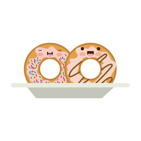 donuts with cream glaze on dish in colorful silhouette on white background vector illustration Vektoros illusztráció